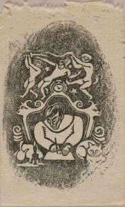 谷中安規/自画像の蔵書票のサムネール