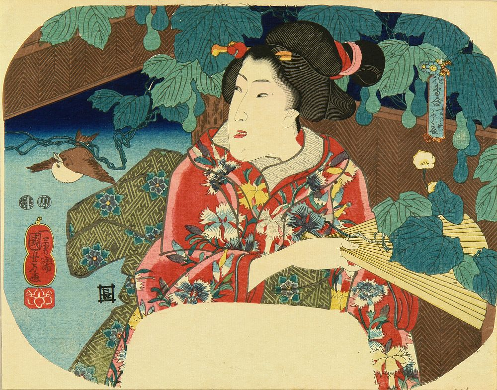 KUNIYOSHI A beauty holding a fan, titled <i>Suzume fukube</i> (Sparrow and gourds), from <i>Kacho awase</i> (Collection of flower and birds)