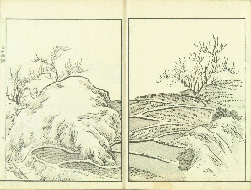 YAMAGUCHI SOKEN <i>Soken sansui gafu</i> (Picture album of landscapes by Soken): Yamaguchi Soken, <i>illustrator</i>, 2 vols., complete, 1818, original covers and title slips
