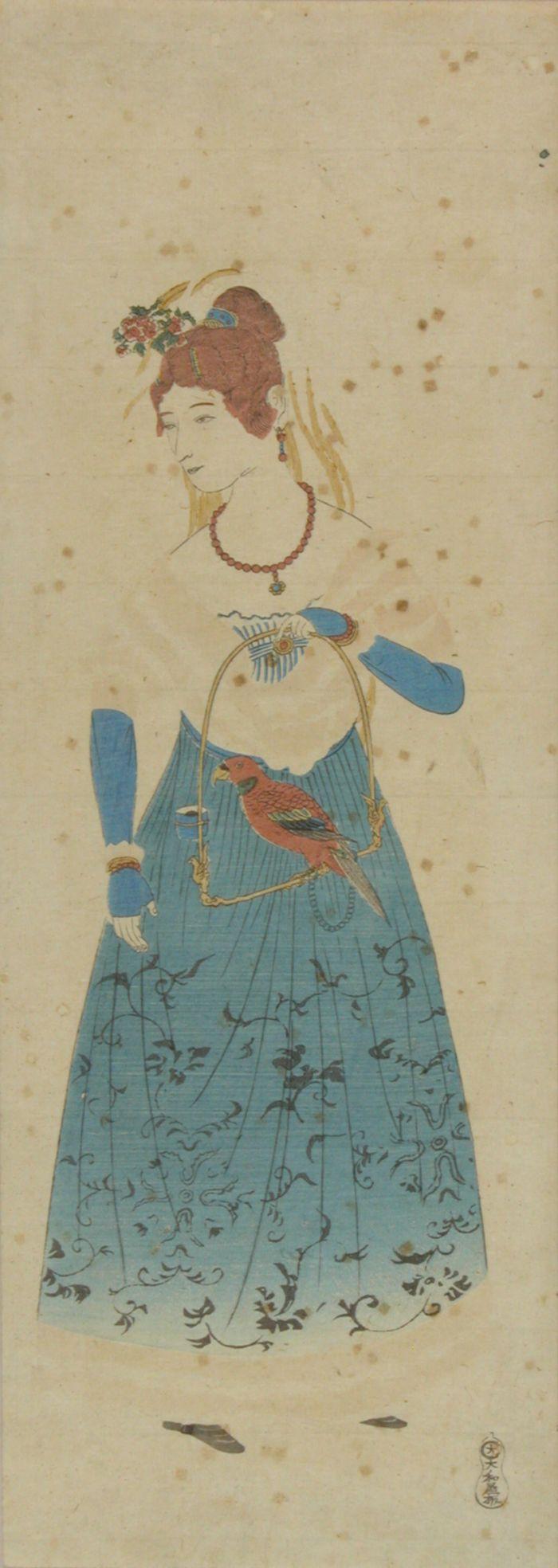 長崎版画 オランダ女人