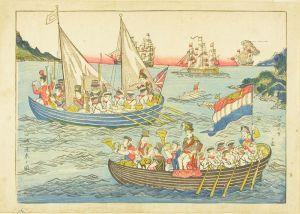 長崎版画/バッテイラノ図 四艘渡来の図のサムネール