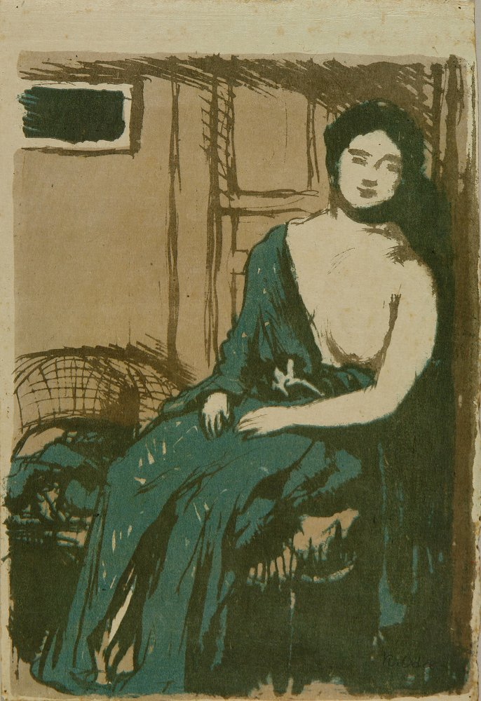 ODA KAZUMA A full-length portrait of a woman on a chair