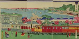 国政四代/東京新橋鉄道繁栄并高輪遠景のサムネール