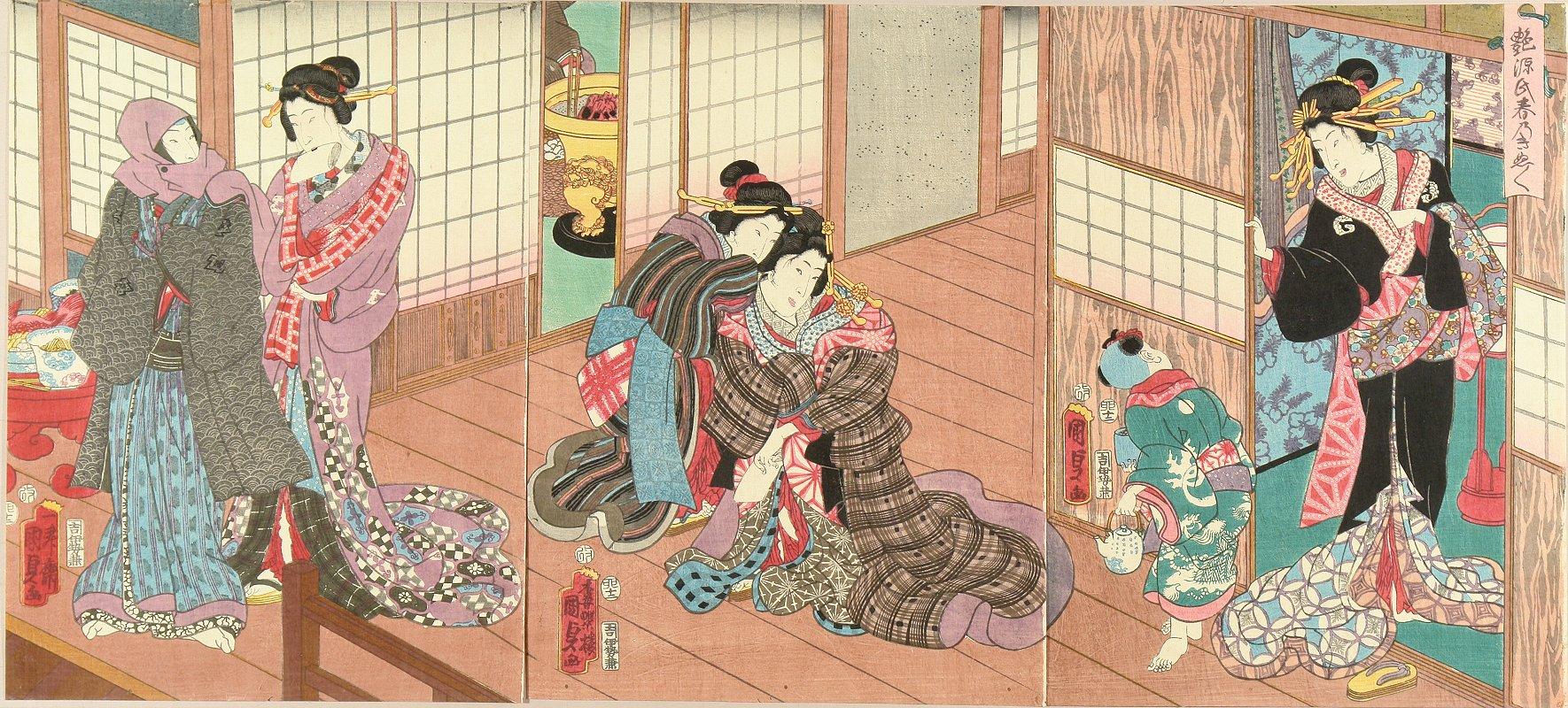 KUNISADA II <i>Tsuya Genji haru no kinubginu</i> (Amorous Genji, separation of the spring), triptych