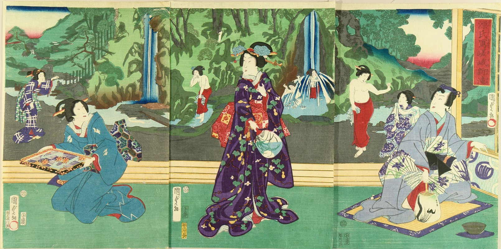 KUNISADA II Genji and beauties before waterfall at Saga, triptych
