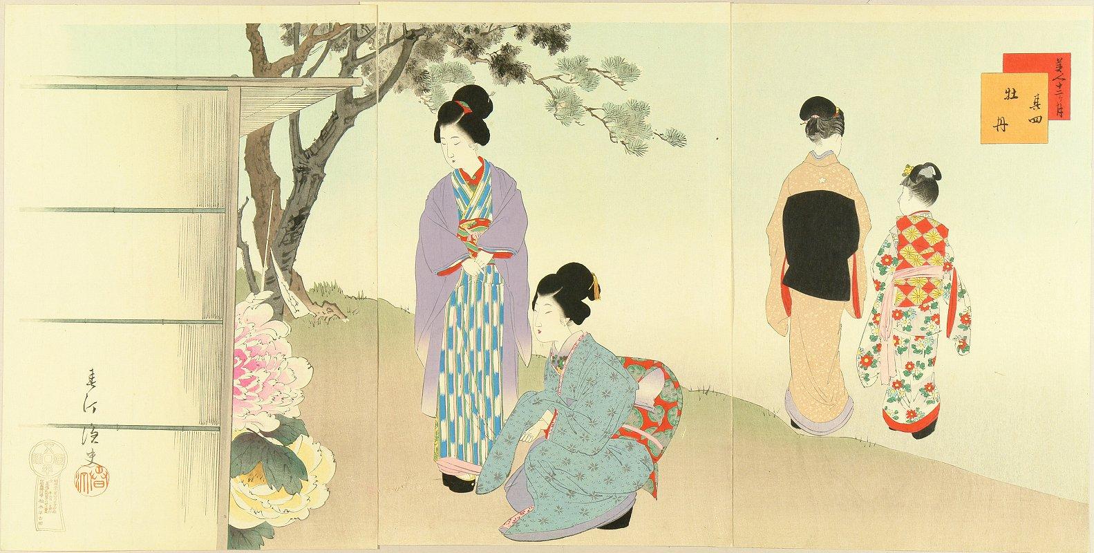 SHUNTEI <i>Botan</i> (Peony), fourth month, from <i>Bijin junikagetsu</i> (Twelve month of beauties), triptych