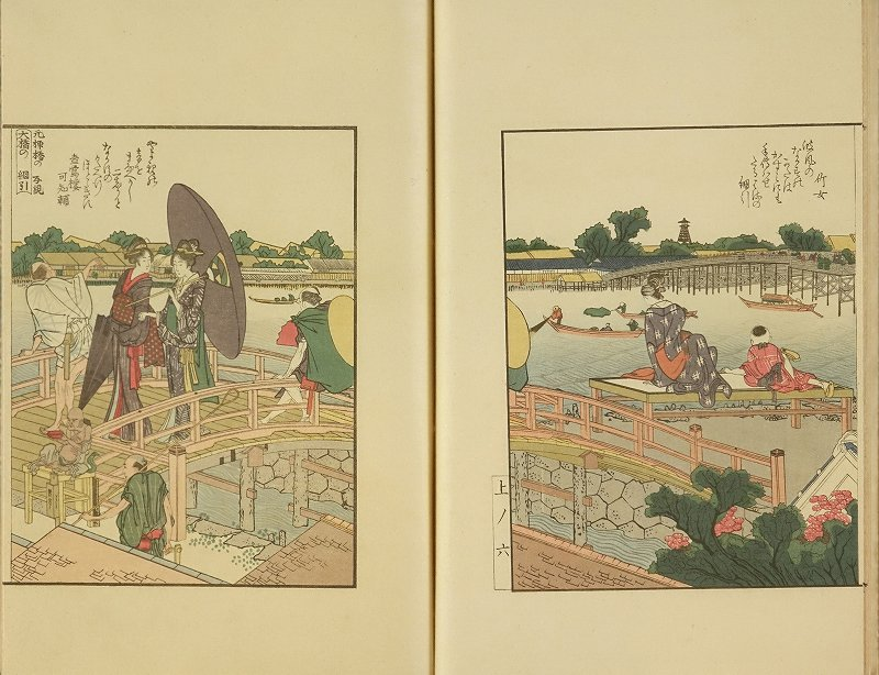 HOKUSAI <i>Ehon Sumidagawa ryogan ichiran</i> (Picture book, banks of Sumida River at a glance): after Hokusai, <i>illustrator</i>, hand-printed woodcut  reproduction, 3 vols., complete, published by Fuzoku emaki zuga kankokai, 1917