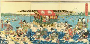豊国三代/大井川歩渡之図のサムネール