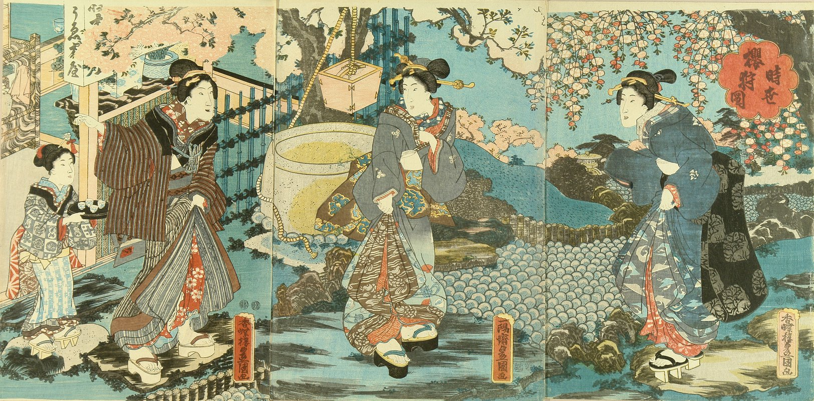 TOYOKUNI III Beauties by a teahouse in a cherry garden, triptych