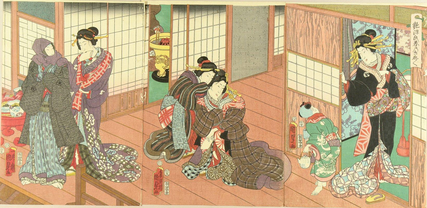 KUNISADA II Tsuya Genji haru no kinubginu (Amorous Genji, separation of the spring), triptych