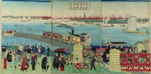 広重三代/東京高輪海岸蒸気車鉄道図のサムネール