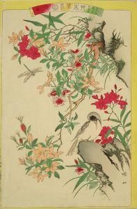 暁山/艸木華鳥図会 十六 鶲?夾竹桃 山梔子花 仙花翁のサムネール