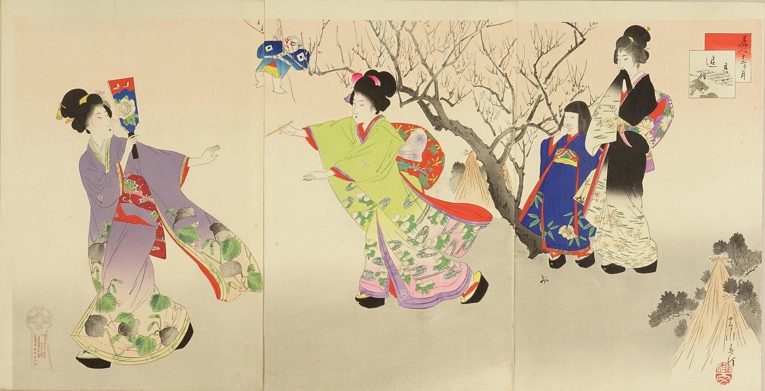 SHUNTEI <i>Oihago</i> (Battledore), first month, from <i>Bijin junikagetsu</i> (Beauties in twelve months), triptych