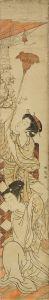 湖竜斎/蜘蛛の巣をはらう美人 柱絵のサムネール