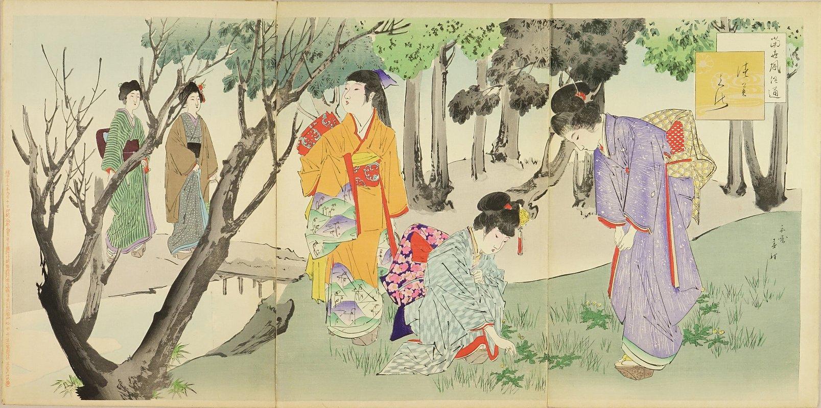 SHUNTEI <i>Tsumikusa</i> (Picking edible grass), from <i>Tosei fuzoku tsu</i> (Daily life of the day), triptych