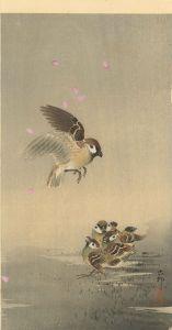 小原古邨/桜吹雪に雀の親子のサムネール