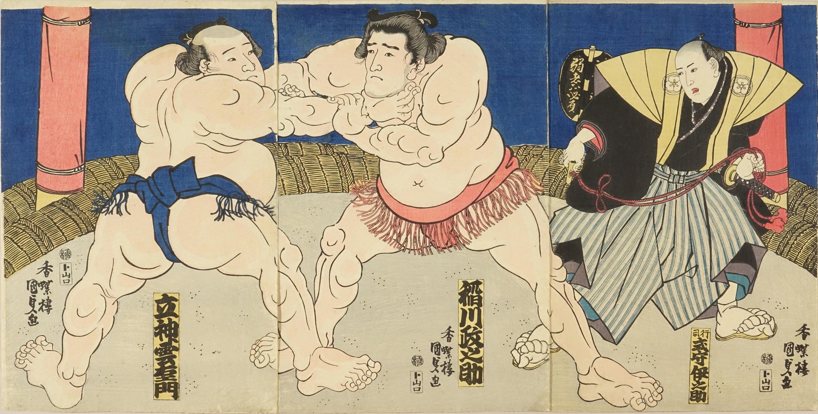 KUNISADA Sumo bout between Inagawa Masaske (Chiba Pref.) and Tatugami Kumoemon, triptych