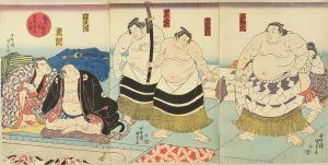 国貞/勧進大相撲八景 支度部屋之図のサムネール
