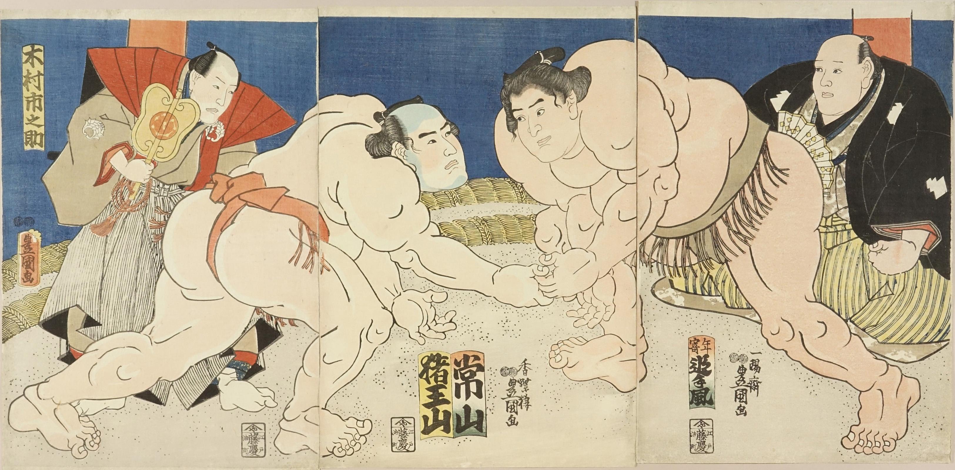 TOYOKUNI III Sumo bout between Jozan Itsugoro (Yamagata Pref.) and Inooyama Moriemon (Miyagi Pref.), triptych