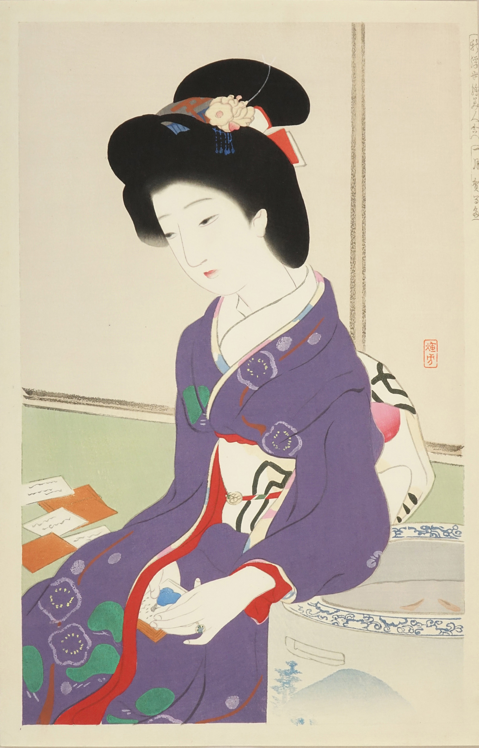 IKEDA TERUKATA A beauty holding a <i>karuta</i> (Playing card of one hundred poems by one hundred poets), first month, from <i>Shin ukiyo-e bijin awase</i> (Collection of new ukiyo-e beauties)