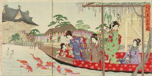 周延/亀井戸藤見美人遊船の図のサムネール