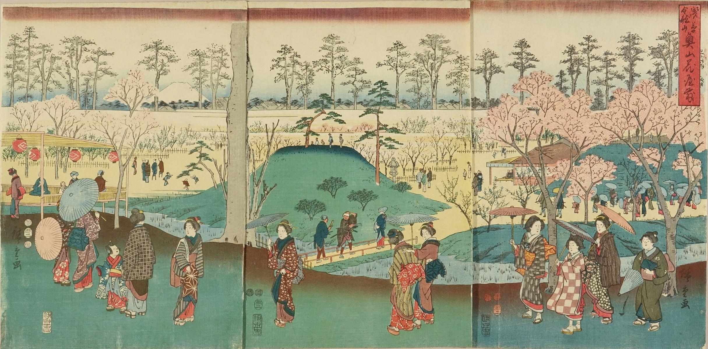 HIROSHIGE <i>Asakusa Kinryuzan okuyama hanayashiki</i> (Flower garden in the ground of Kinryuzan Temple, Asakusa), triptych