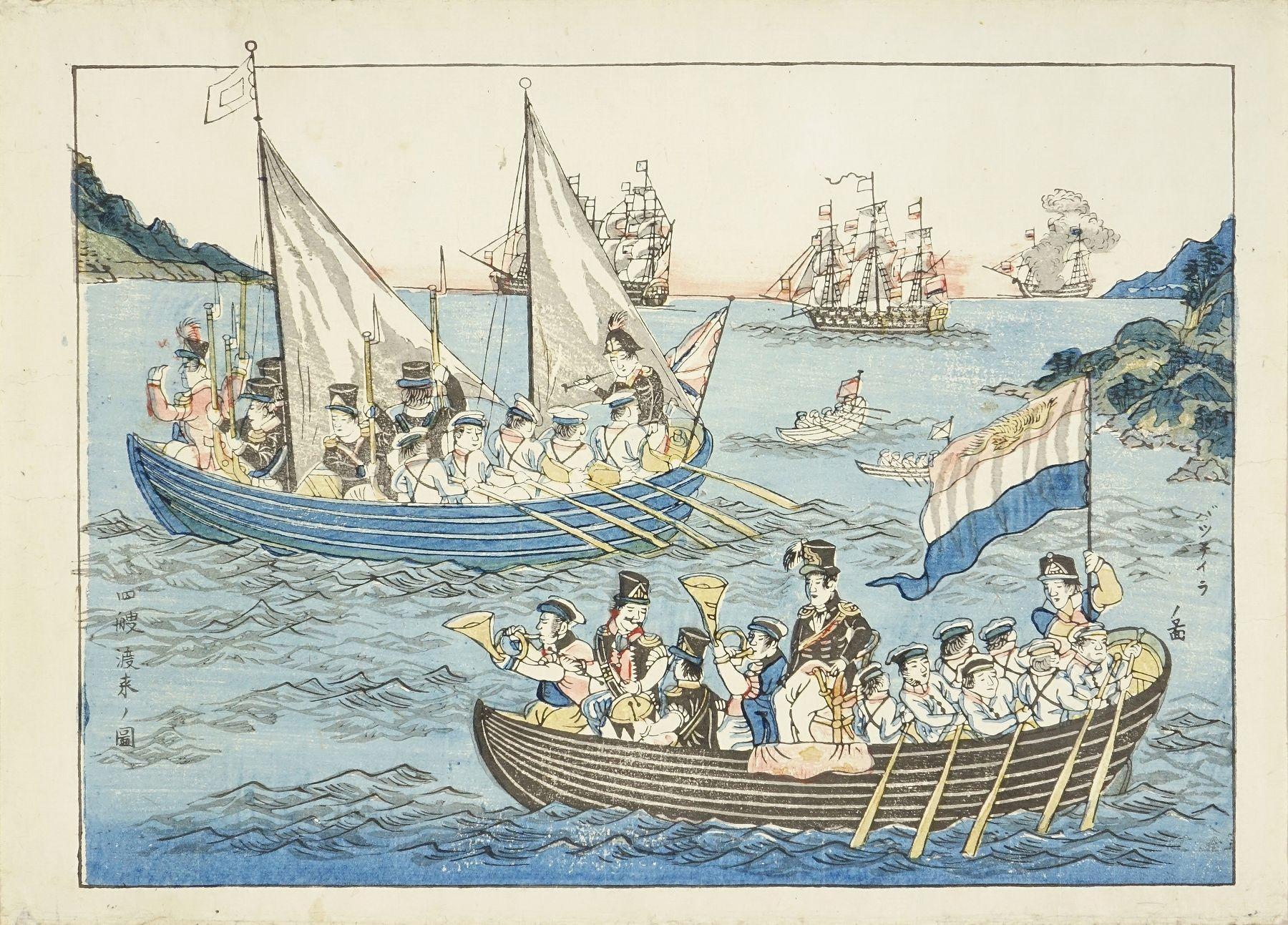 長崎版画 バッテイラノ図 四艘渡来の図
