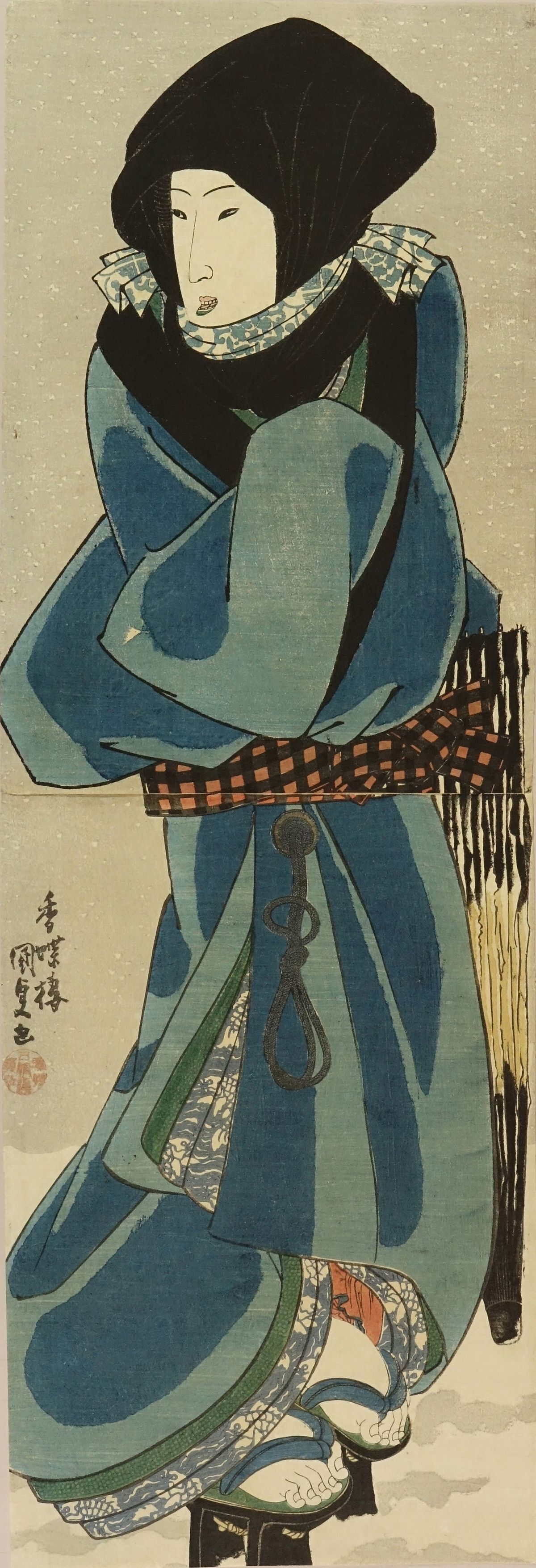 KUNISADA Standing beauty in snow covering her head with <i>okoso zukin</i> (Winter hood), vertical diptych