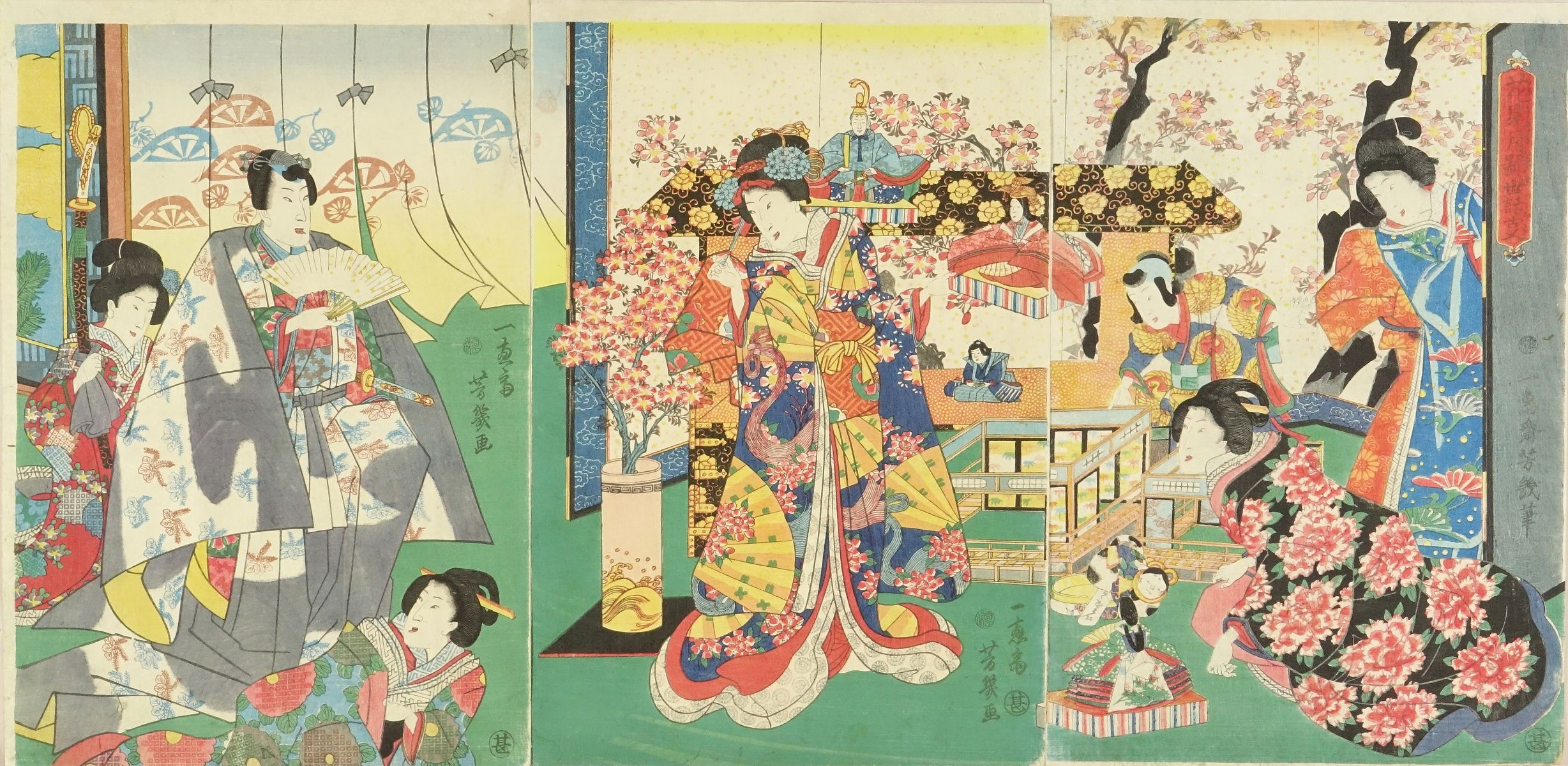 YOSHIIKU Genji and beauties preparing for girls' festival, triptych