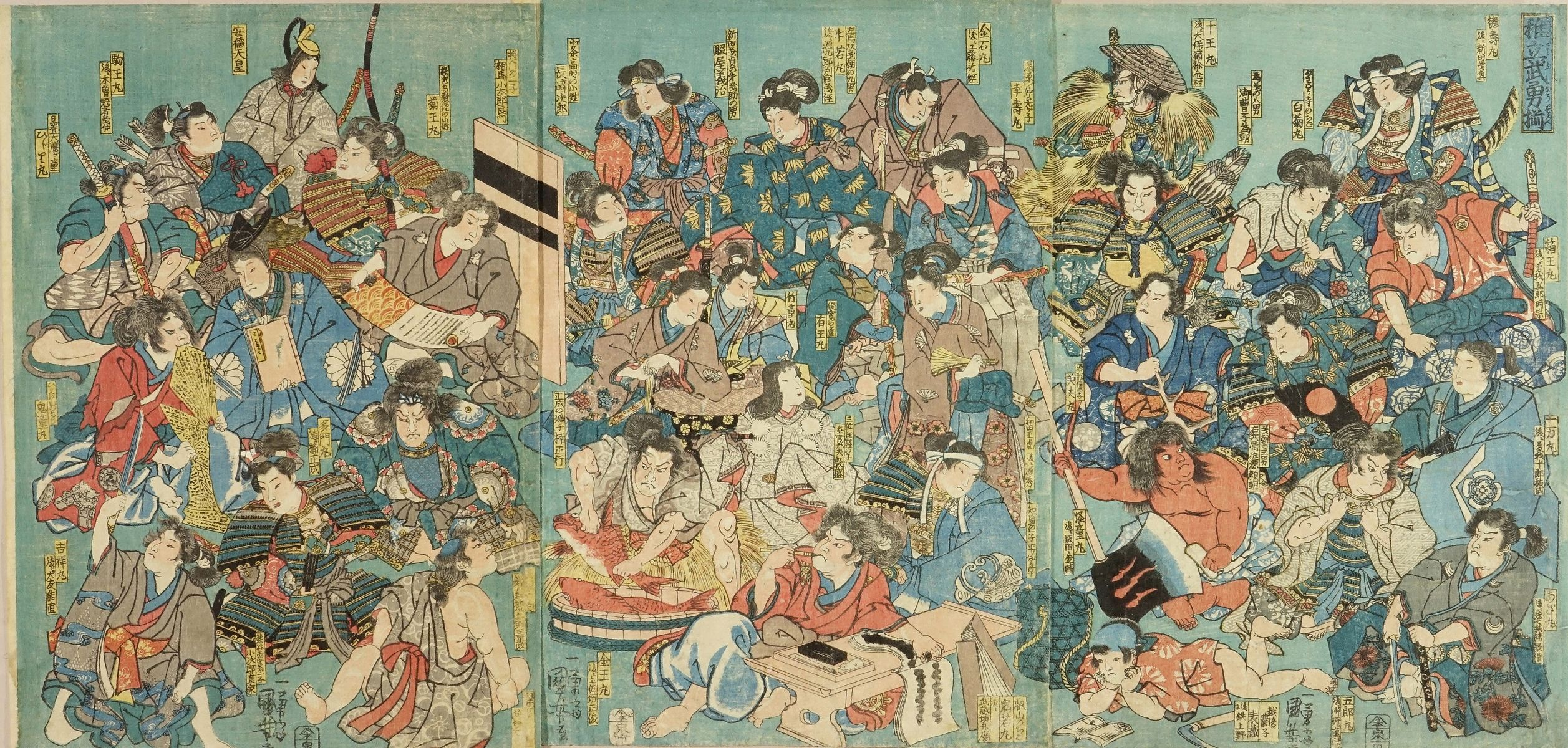 KUNIYOSHI <i>Osanadachi buyu soroi</i> (Collection of heroes in their childhood), triptych