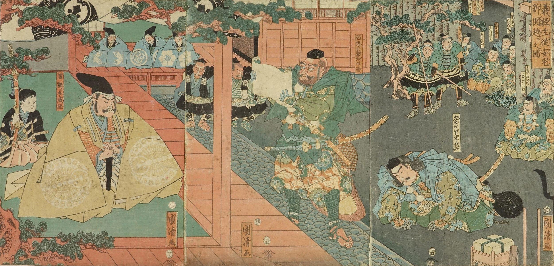 KUNIKIYO Minamoto no Yoshitsune passing the Ataka checkpoint, triptych