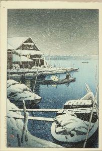 川瀬巴水/雪の向嶋 (後刷)のサムネール