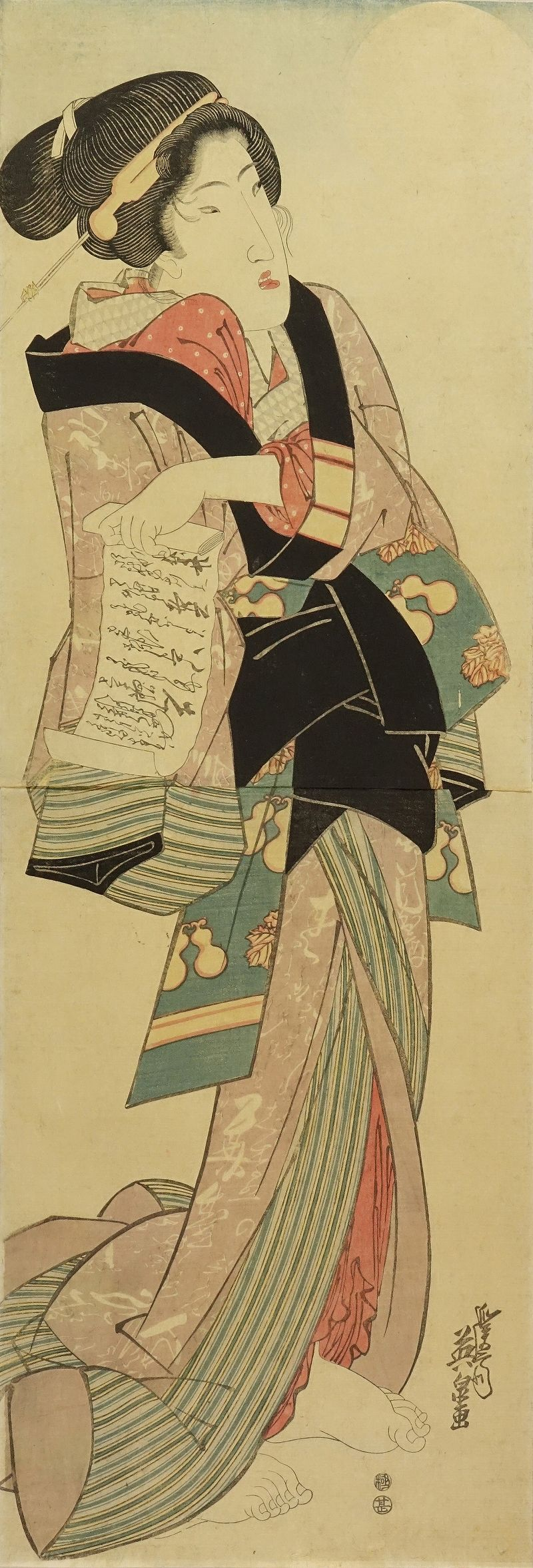 EISEN A beauty holding a letter looking up the moon, vertical diptych