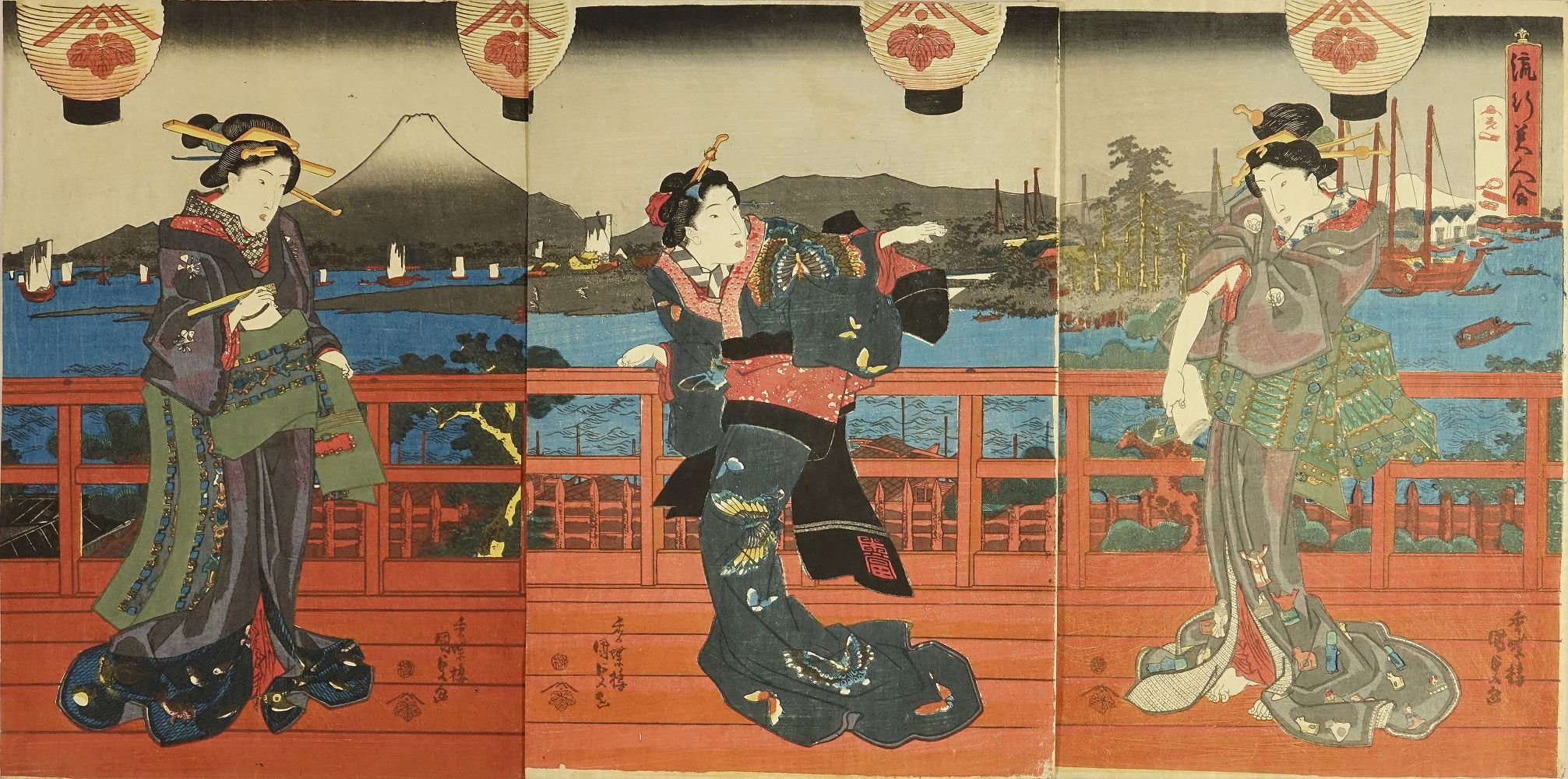 KUNISADA Beauties in an interior, titled <i>Ryuko bijin awase</i> (Collection of beauties of the day), triptych