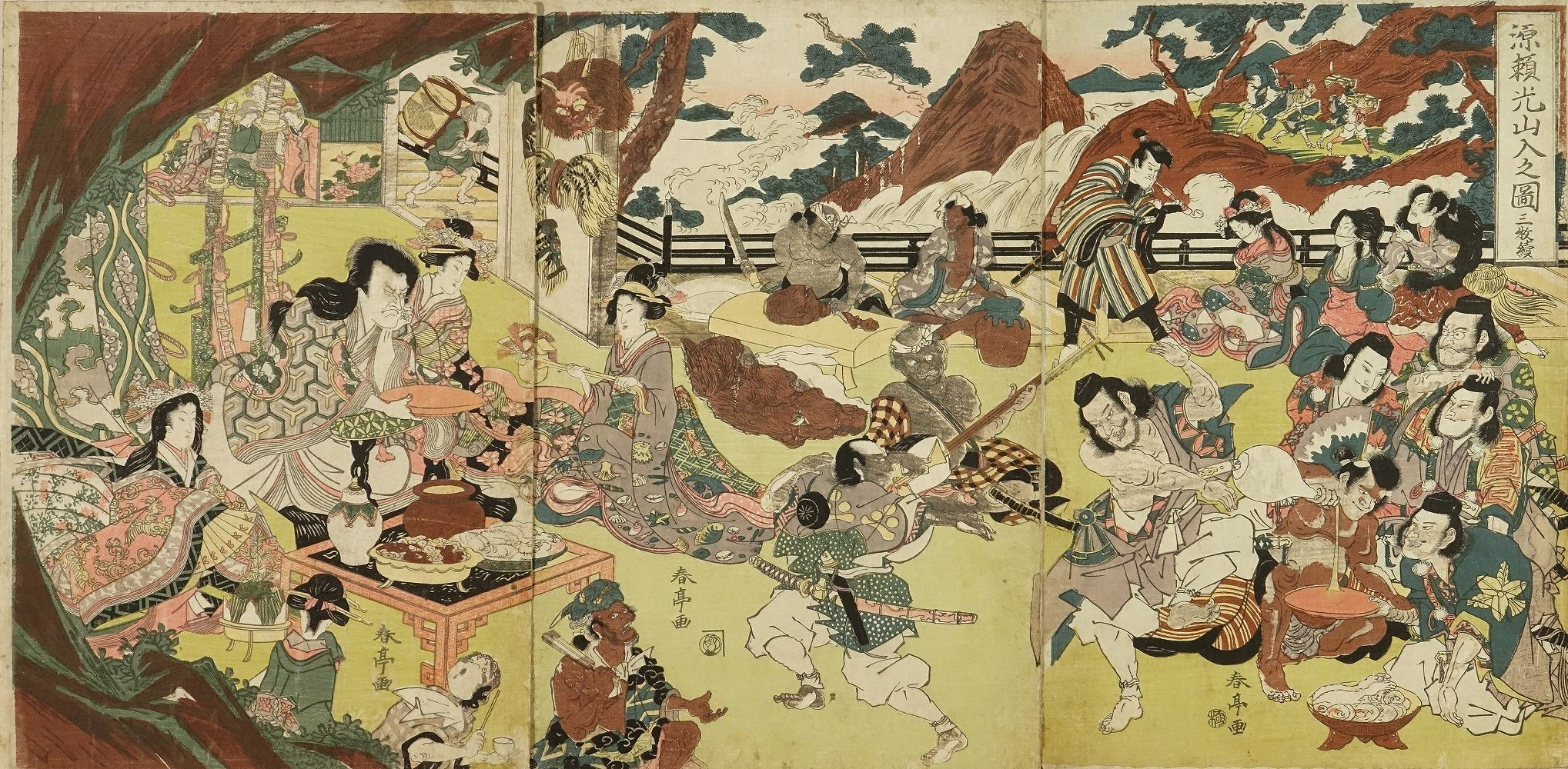 SHUNTEI Minamoto no Yorimitsu and his retainers drinking sake with Shutendoji at Mount Oe, triptych