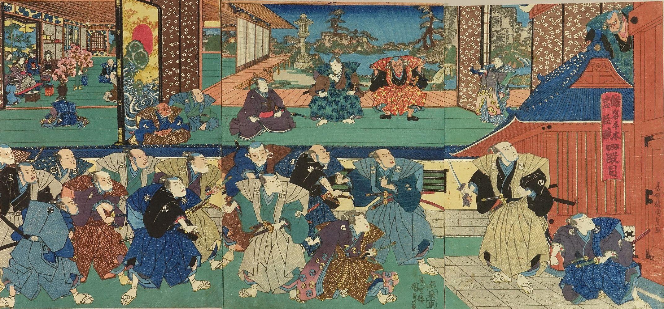 KUNISADA Act IV of the play <i>Kanadehon Chushingura</i>, triptych