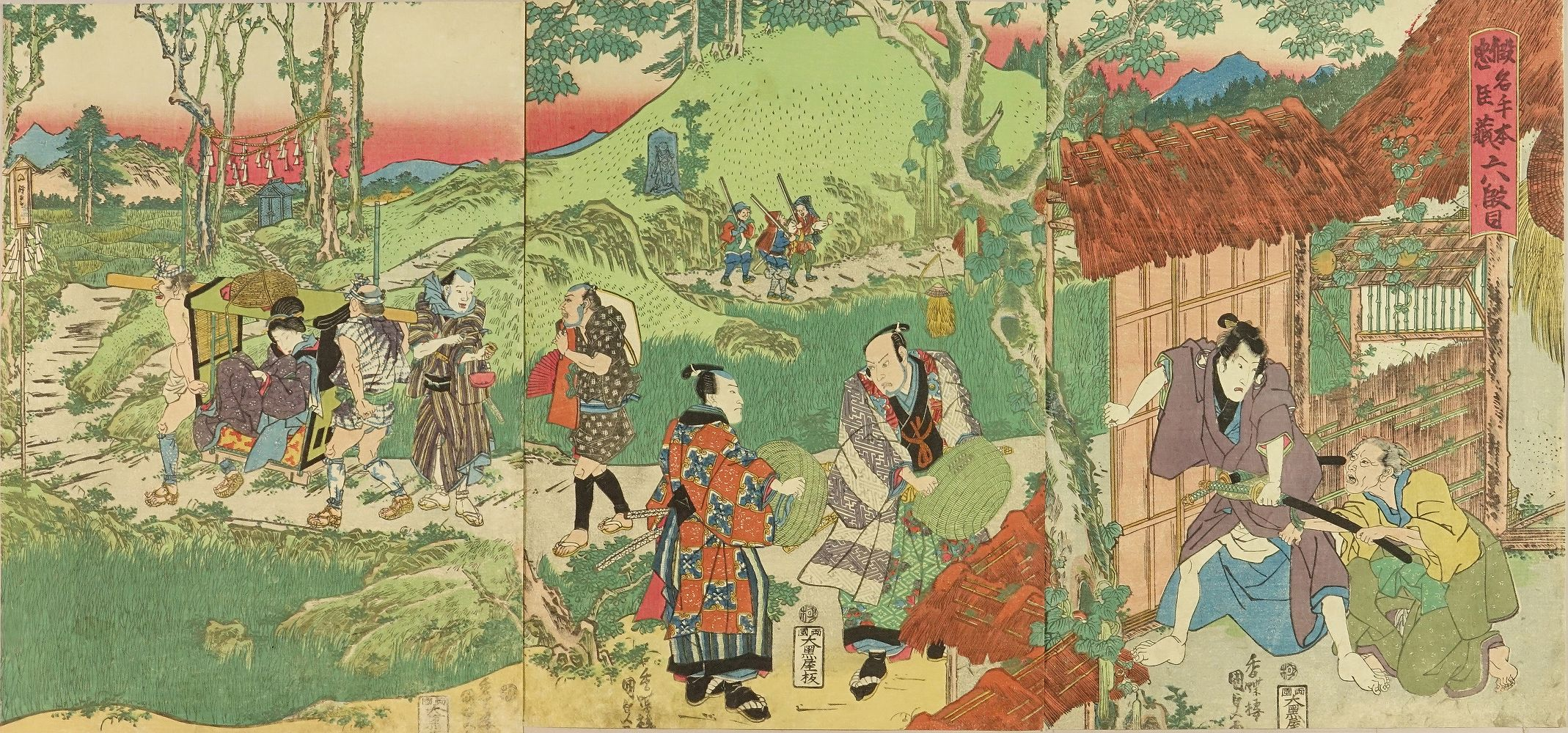 KUNISADA Act VI of the play <i>Kanadehon Chushingura</i>, triptych