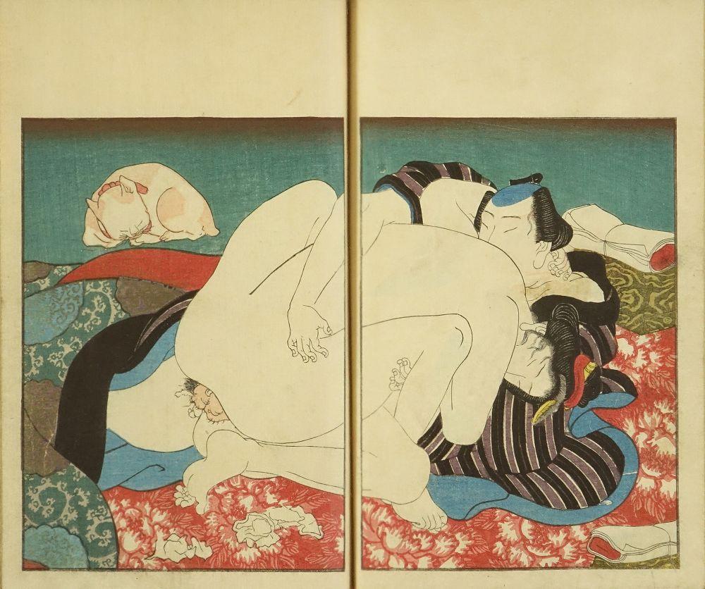 MAROMARU <i>Shikido juhachijo</i>: Utagawa Maromaru (Kunimaro), <i>illustrator</i>, three vols., complete, 1853, very slightly soiled, slight offset stain