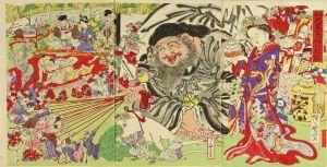 暁斎/新板大黒天福引の図のサムネール