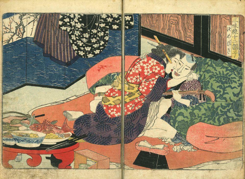 SHIGENOBU <i>Shamisen juni choshi</i> (Twelve tunes of shamisen): Yanagawa Shigenobu, <i>illustrator</i>, two vols., complete, 1824, slightly soiled and stained, covers worn