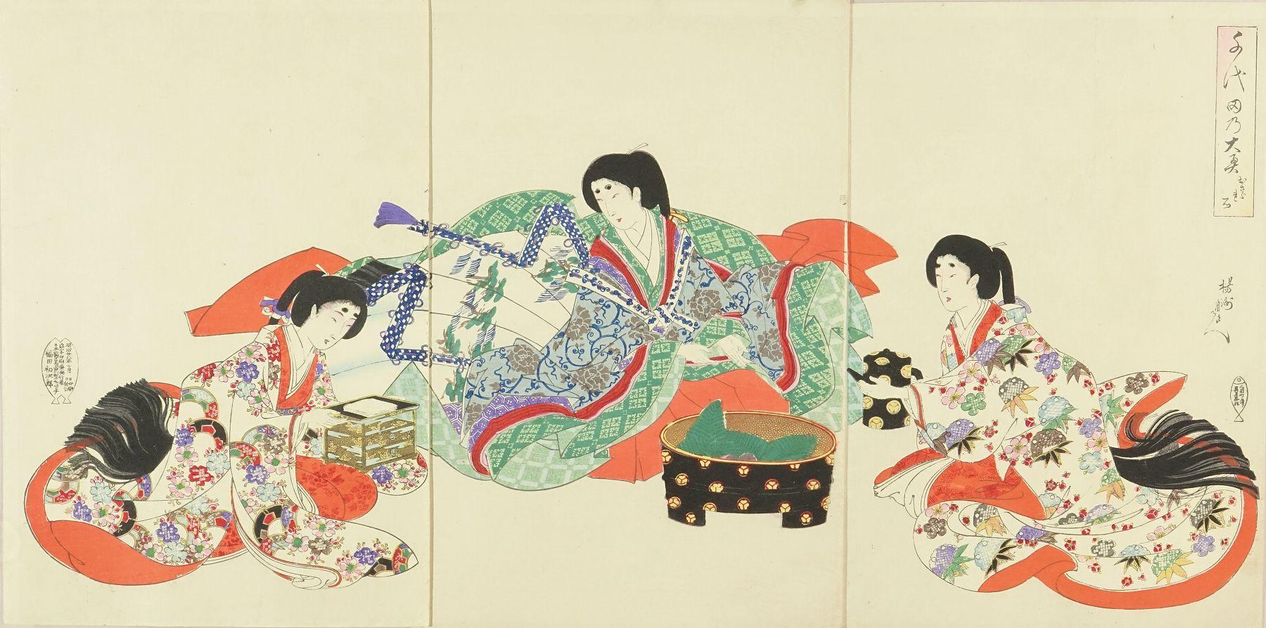 CHIKANOBU Ceremony of <i>Osazare ishi</i>, from <i>Chiyoda no o-oku</i> (Inner palace of Edo Castle), triptych