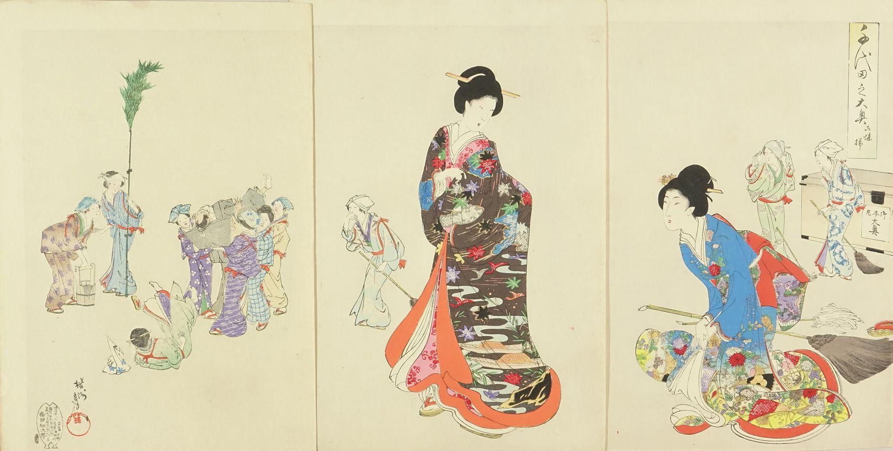 CHIKANOBU <i>O-susu harai</i> (House cleaning), from <i>Chiyoda no o-oku</i> (Inner palace of Edo Castle), triptych