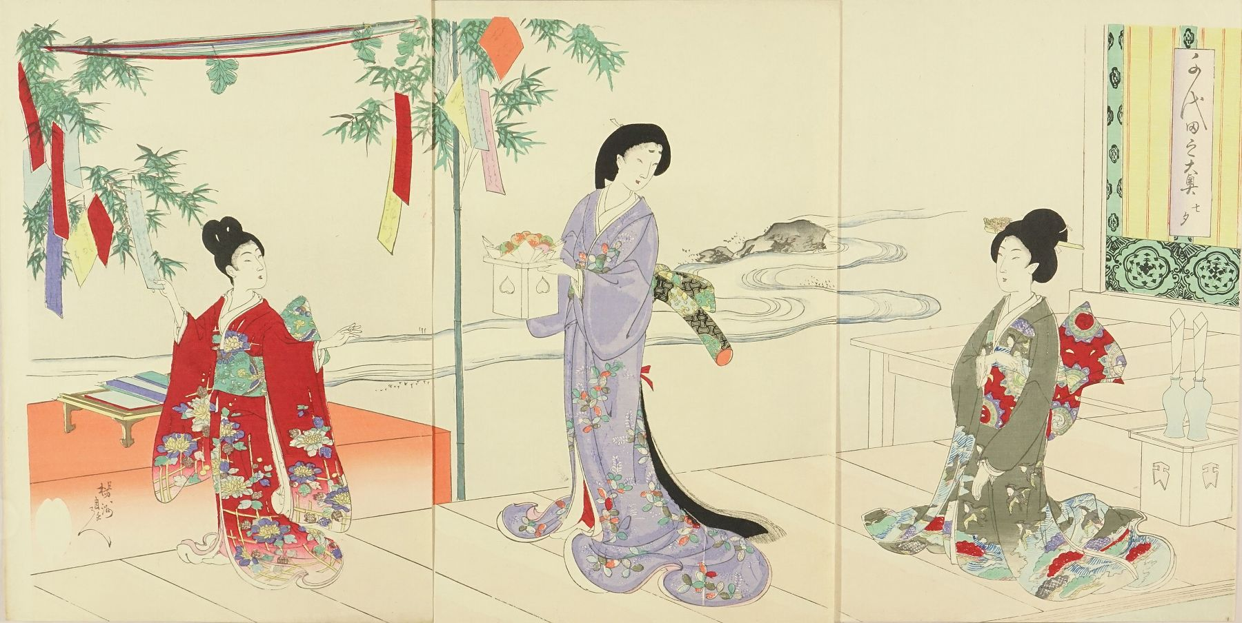 CHIKANOBU Tanabata Festival, from <i>Chiyoda no o-oku</i> (Inner palace of Edo Castle), triptych