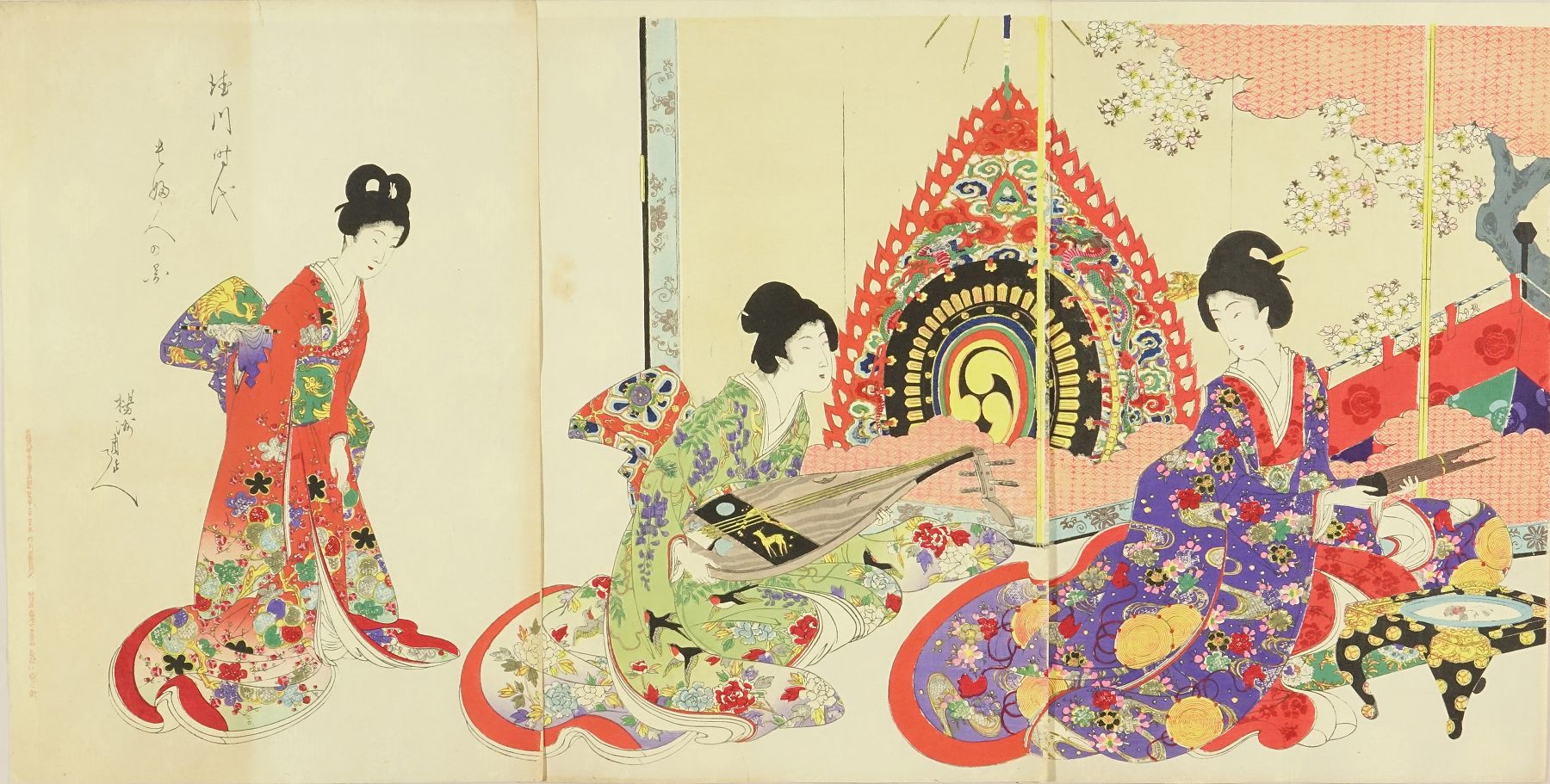 CHIKANOBU Beauties playing music, from <i>Tokugawa jidai kifujin no zu</i> (Noble ladies in the Tokugawa era), triptych