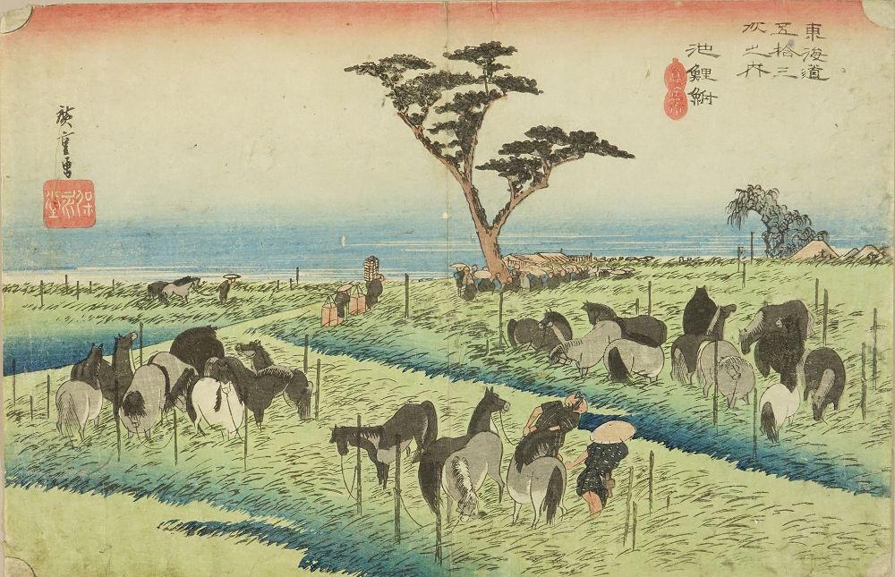 HIROSHIGE Chiryu, <i>Shuka uma-ichi</i> (Summer horse market), from <i>Tokaido gojusan tsugi no uchi</i> (the Fifty-three stations of the Tokaido)