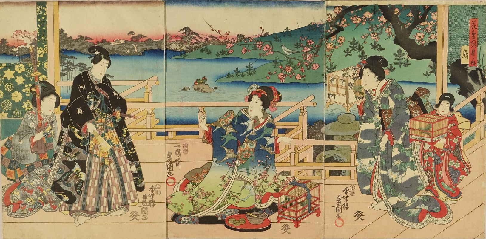 TOYOKUNI III Genji and beauties in an interior, triptych