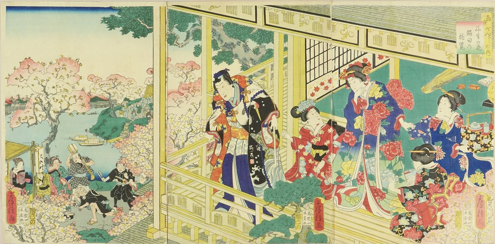 FUSATANE Genji and beauties on a terrace overlooking cherry blossom along Sumida River, triptych