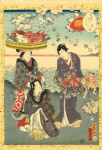 国貞二代/紫式部源氏かるた 12 須磨のサムネール