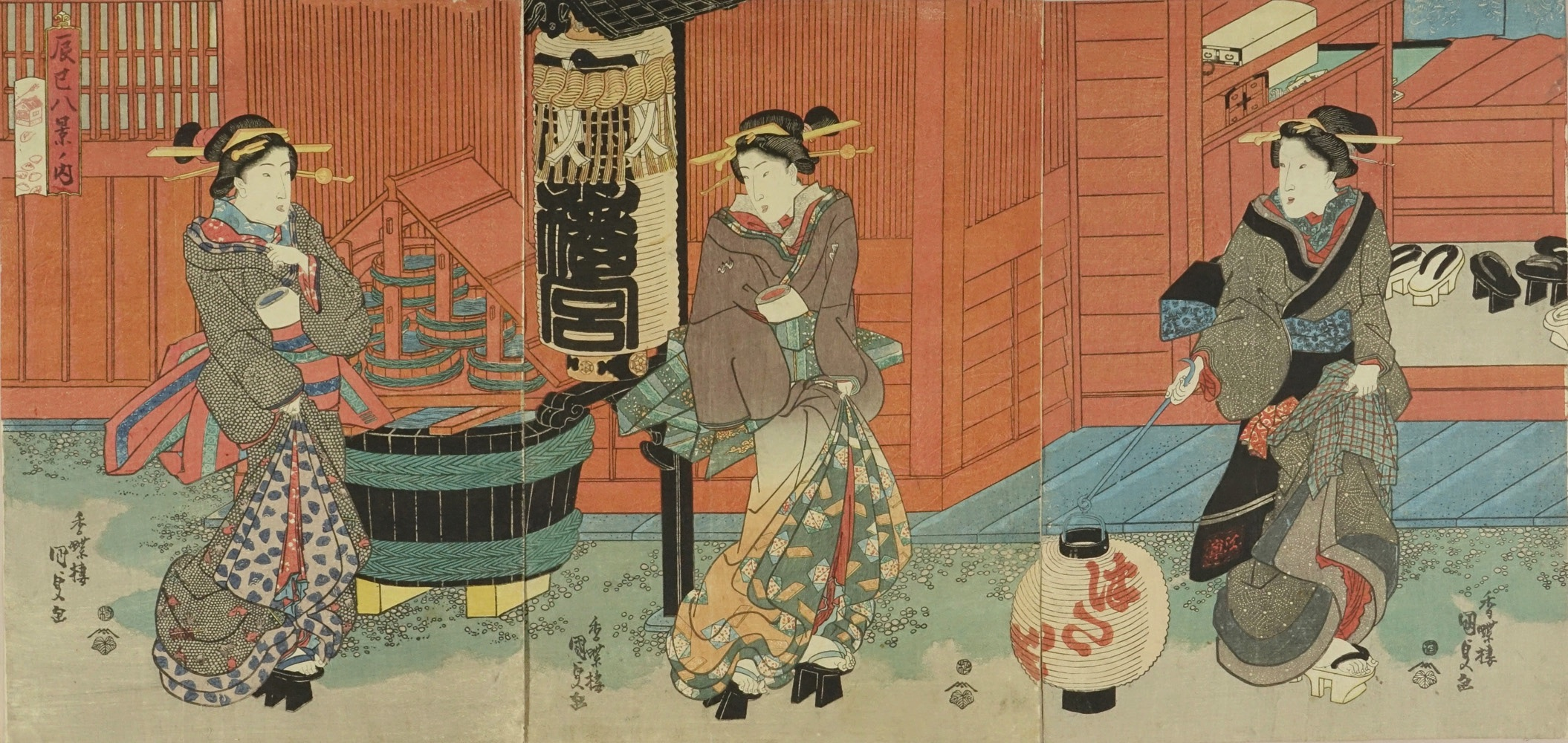 KUNISADA Beauties at Yagurashita pleasure quarters, from <i>Tatsumi hakkei no uchi</i> (Eight views of Fukagawa), triptych
