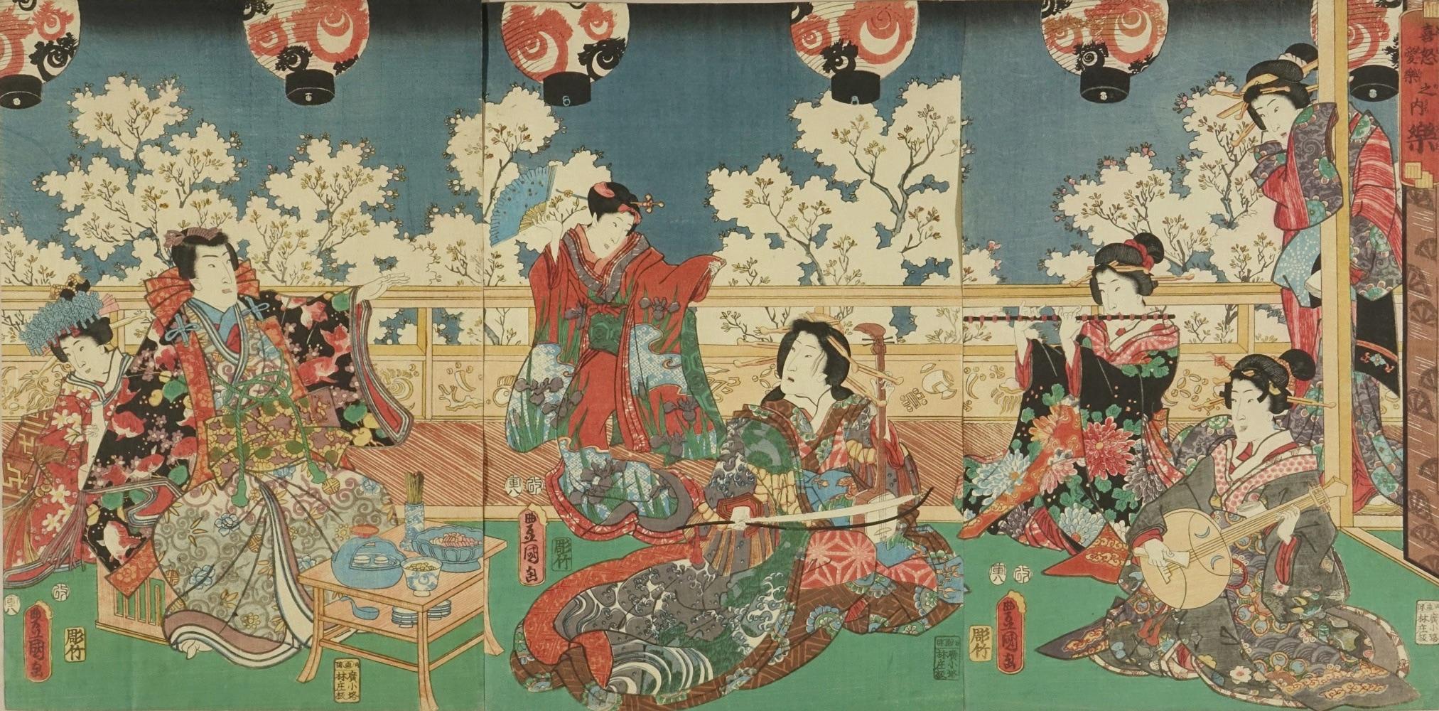 TOYOKUNI III Beauties and Genii on a terrace overlooking cherry blossom, subtitled <i>Raku</i> (Pleasure), from <i>Kidoairaku no uchi</i> (Four emotions), triptych